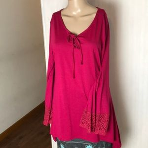 Lee Riders Cotton top with Bell Sleeves Size L
